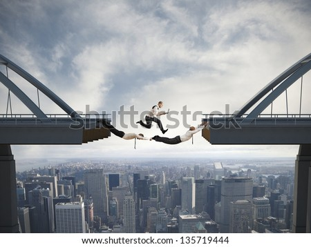 Concept of difficulty in business and teamwork - stock photo