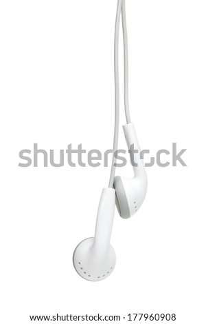 concept of digital music white Headphones - stock photo