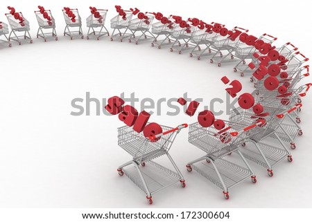 Concept of discount. Shopping carts full of percentage sale. - stock photo