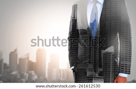 concept of double exposure businessman and city - stock photo