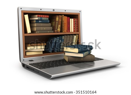Concept of E-learning education or internet library. The bookshelf full of books in the screen laptop and stack of books on keyboard. - stock photo