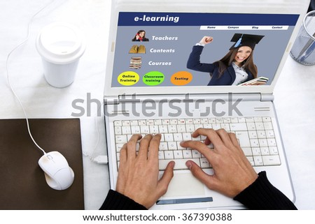 concept of e-learning on the computer screen - stock photo