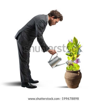 Concept of easy earn with plant of money - stock photo
