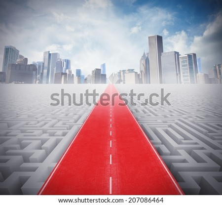 Concept of easy way to success over a maze - stock photo