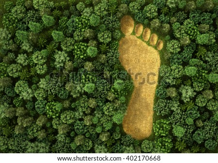 Concept of ecology. Imprint of human footprint in nature. It was here come human foot. 3d illustration - stock photo