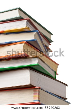 Concept of education or back to school. Stack of books isolated on white background. - stock photo