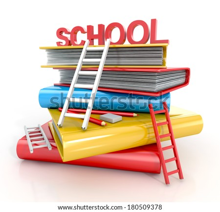 Concept of education with ladders and colorful books. isolated on white background. 3d illustration - stock photo