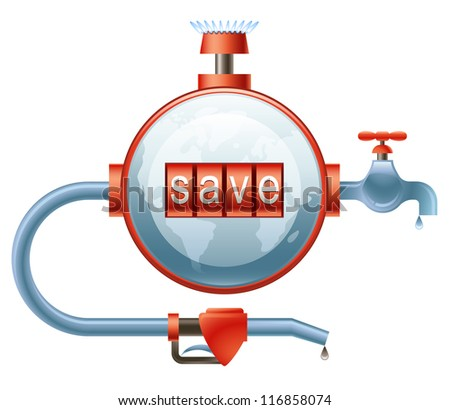 Concept of efficient energy use represented as a globe-shaped counter with the indication of Save on it - stock photo
