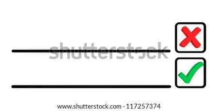 concept of elections.cross and a tick in the selection list in order to vote - stock photo