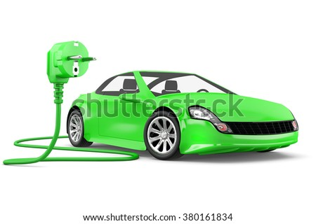 concept of electric car with green power plug on white background - stock photo