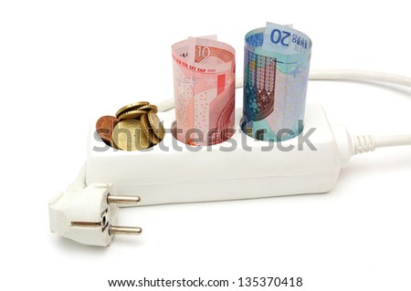 concept of energy savings with money in electric splitter - stock photo