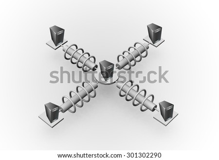 Concept of Enterprise Application and process integration, different enterprise systems are connected through a network. 3D model illustration - stock photo
