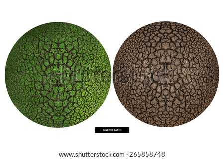 concept of environment : Abstract green planet and dried planet,isolated on white with clipping path - stock photo