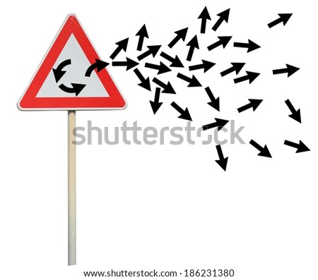 Concept of Escape from loop with street signal - stock photo