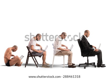 Concept of evolution and success of a businessman - stock photo