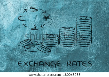concept of exchange rates, coins and currency symbols - stock photo