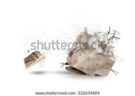 Concept of explosion and overheat of overloaded computer - stock photo
