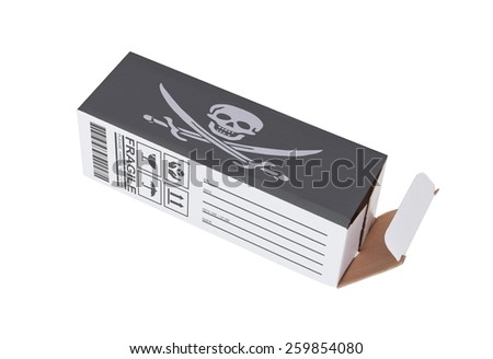 Concept of export, opened paper box - Illegal product - stock photo