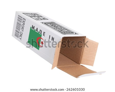 Concept of export, opened paper box - Product of Algeria - stock photo