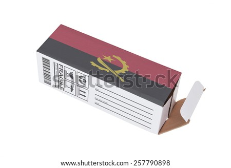 Concept of export, opened paper box - Product of Angola