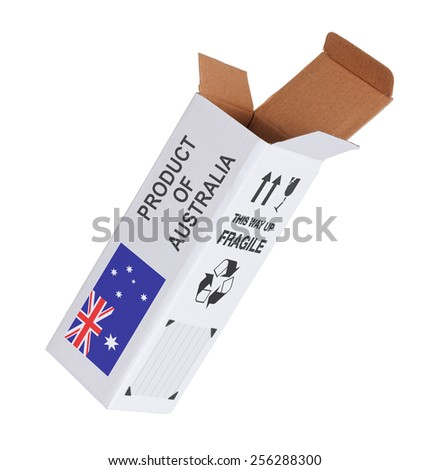 Concept of export, opened paper box - Product of Australia - stock photo