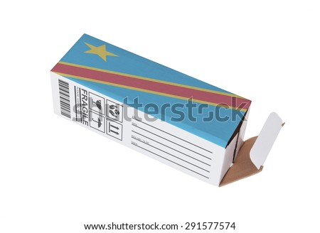 Concept of export, opened paper box - Product of Congo