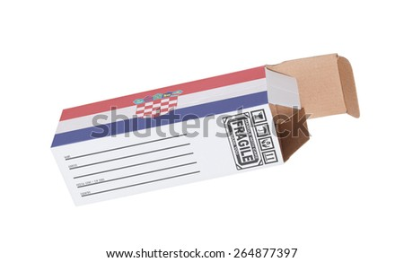 Concept of export, opened paper box - Product of Croatia