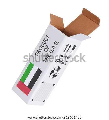 Concept of export, opened paper box - Product of the United Arab Emirates - stock photo