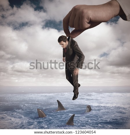 Concept of failure of a businessmamn - stock photo