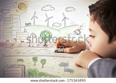 Concept of fantasy and immagination of a child - stock photo