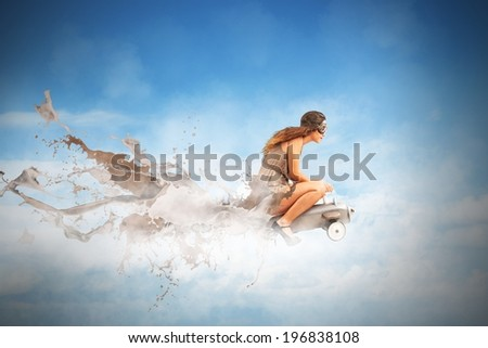 Concept of fast and creative fashion with a girl on an airplane - stock photo