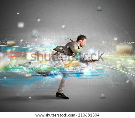 Concept of fast internet with running businessman with a laptop - stock photo