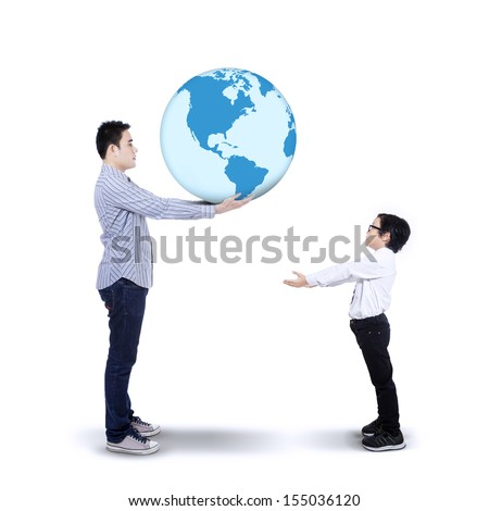 Concept of Father passing the Earth to his son isolated on white background - stock photo