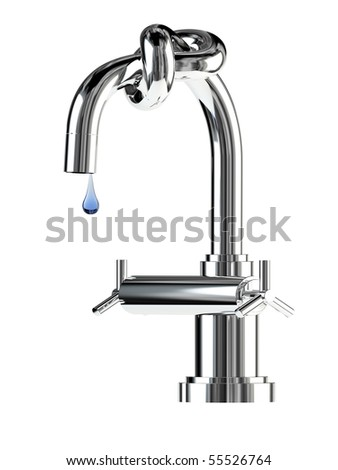 Concept of faucet with knot on white background - stock photo