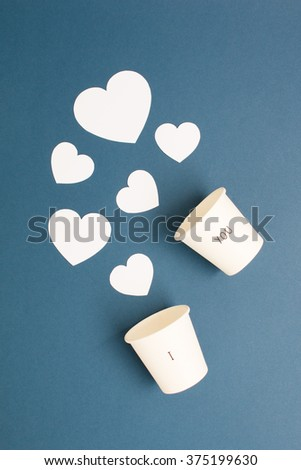 Concept of finding love which have many white heart on blue background.