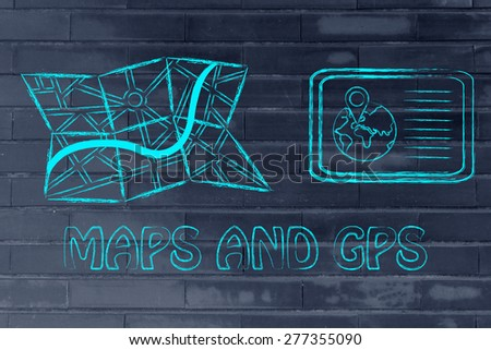 concept of finding your way when travelling: maps and gps devices - stock photo