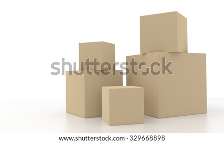 Concept of five 3d light brown boxes isolated on white background. Rendered illustration. - stock photo