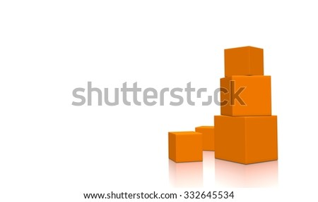 Concept of five 3d orange boxes isolated on white background. Rendered illustration.
