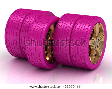 Concept of five pink wheels with golden disks on white background - stock photo