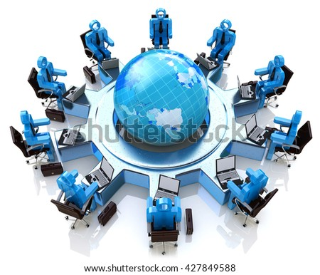 Concept of global business communication and teamwork. 3d people sitting in armchairs around planet earth in the design of the information associated with the global teamwork. 3d illustration - stock photo