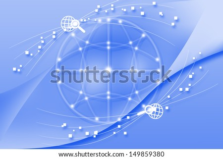 Concept of global business soft blue background