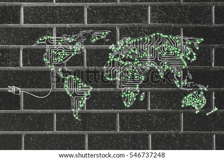 concept of global communications and connectivity: world map made of electronic microchip circuits