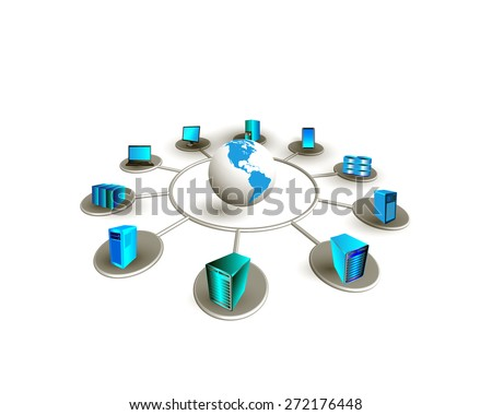 Concept of Global system integration. This image illustrates, how different enterprise business servers are connected each other and accessed worldwide through mobile, web, desktop applications. - stock photo