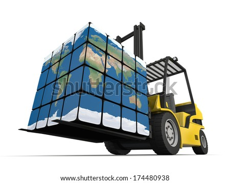 Concept of global transportation, modern yellow forklift carrying planet Earth in form of cube, isolated on white background. Elements of this image furnished by NASA. - stock photo