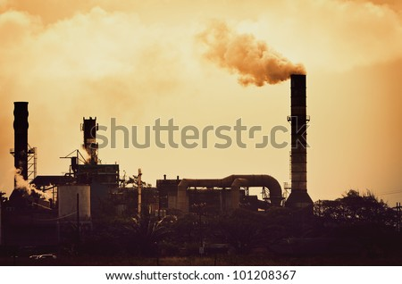 Concept of Global Warming, Pollution smoke from factory