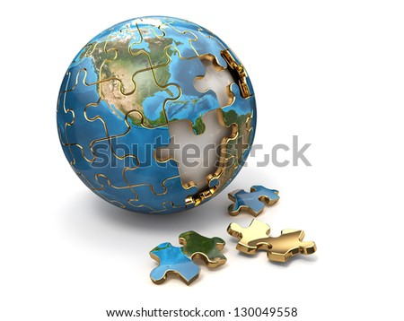 Concept of Globalization. Earth puzzle on white background. 3d - stock photo
