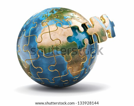 Concept of Globalization. Earth puzzle on white background. 3d Elements of this image furnished by NASA - stock photo