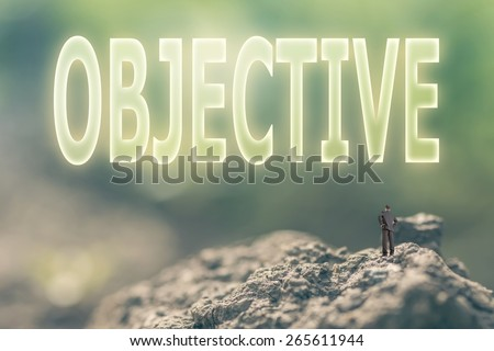 Concept of goal with a person stand in the outdoor and looking up the text over the sky in nature background. - stock photo
