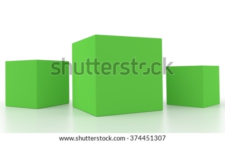 Concept of green boxes isolated on a white background.