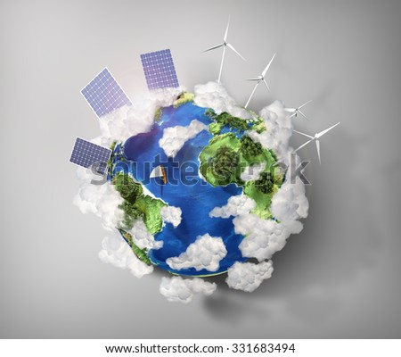 Concept of green energy and protect enviroment nature. Green planet earth with batteries of solar energy and wind power installed on it. - stock photo